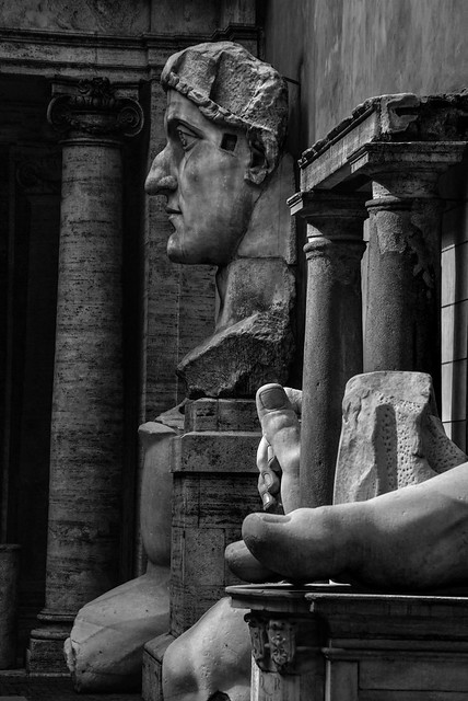 what a profile! massive Roman statues, sadly in pieces, Palatine museum, Rome, Italy