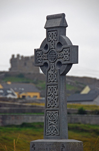 Celtic cross on Inisheer, one of the Aran Islands in Ireland