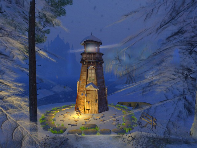 Winter Flakes - Windswept Lighthouse In the Snow