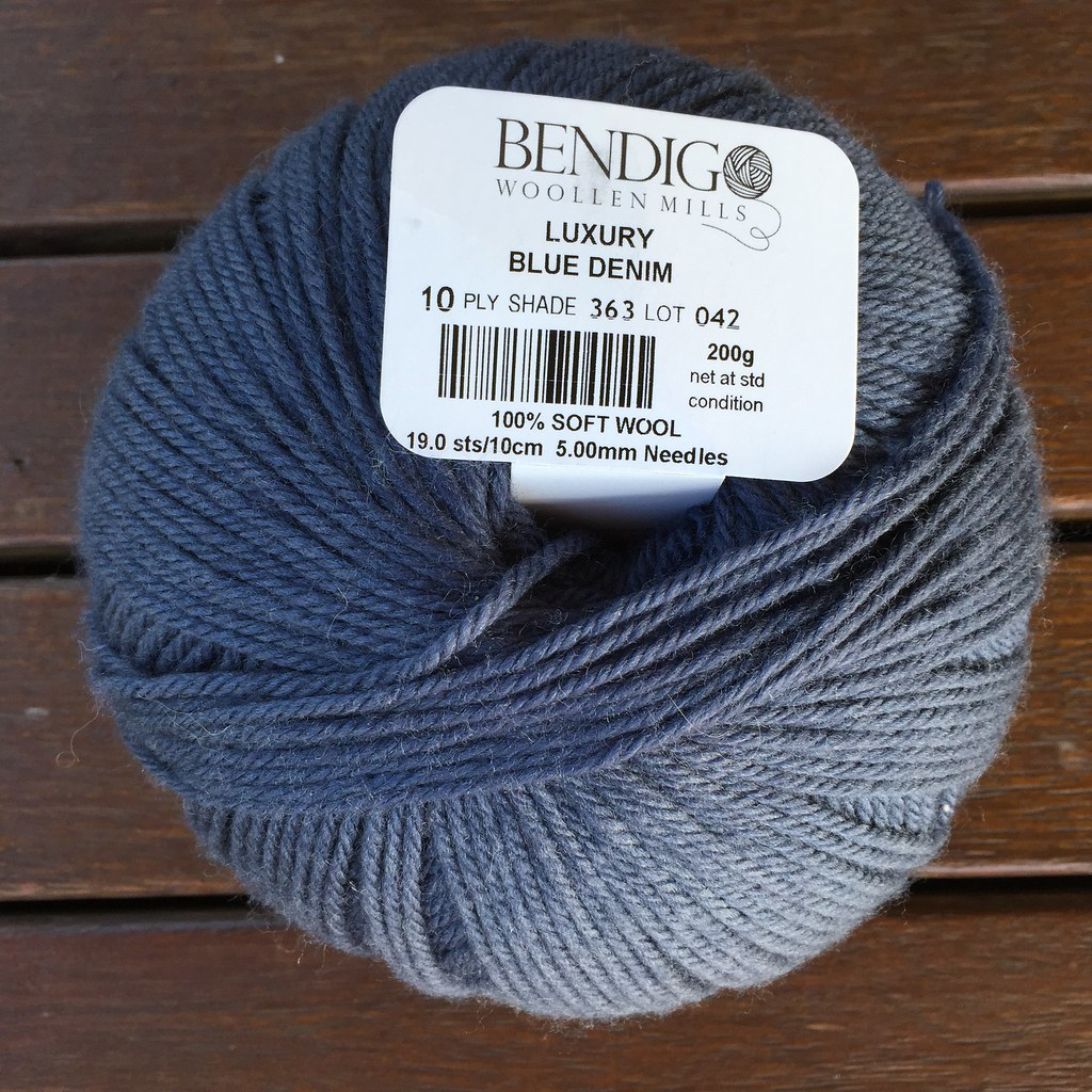 a ball of bendigo woollen mills luxury 10ply in 'blue denim'