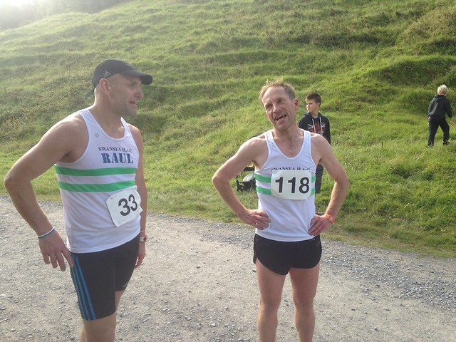 Me and Raul at the finish, Llanmadoc XC