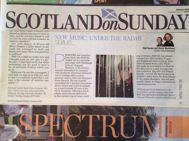 Olaf Furniss and Derick Mackinnon, Scotland On Sunday, Spectrum Magazine, 4 October 2015, SEØUEL
