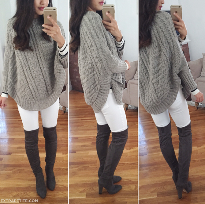tall boots poncho sweater fall outfit