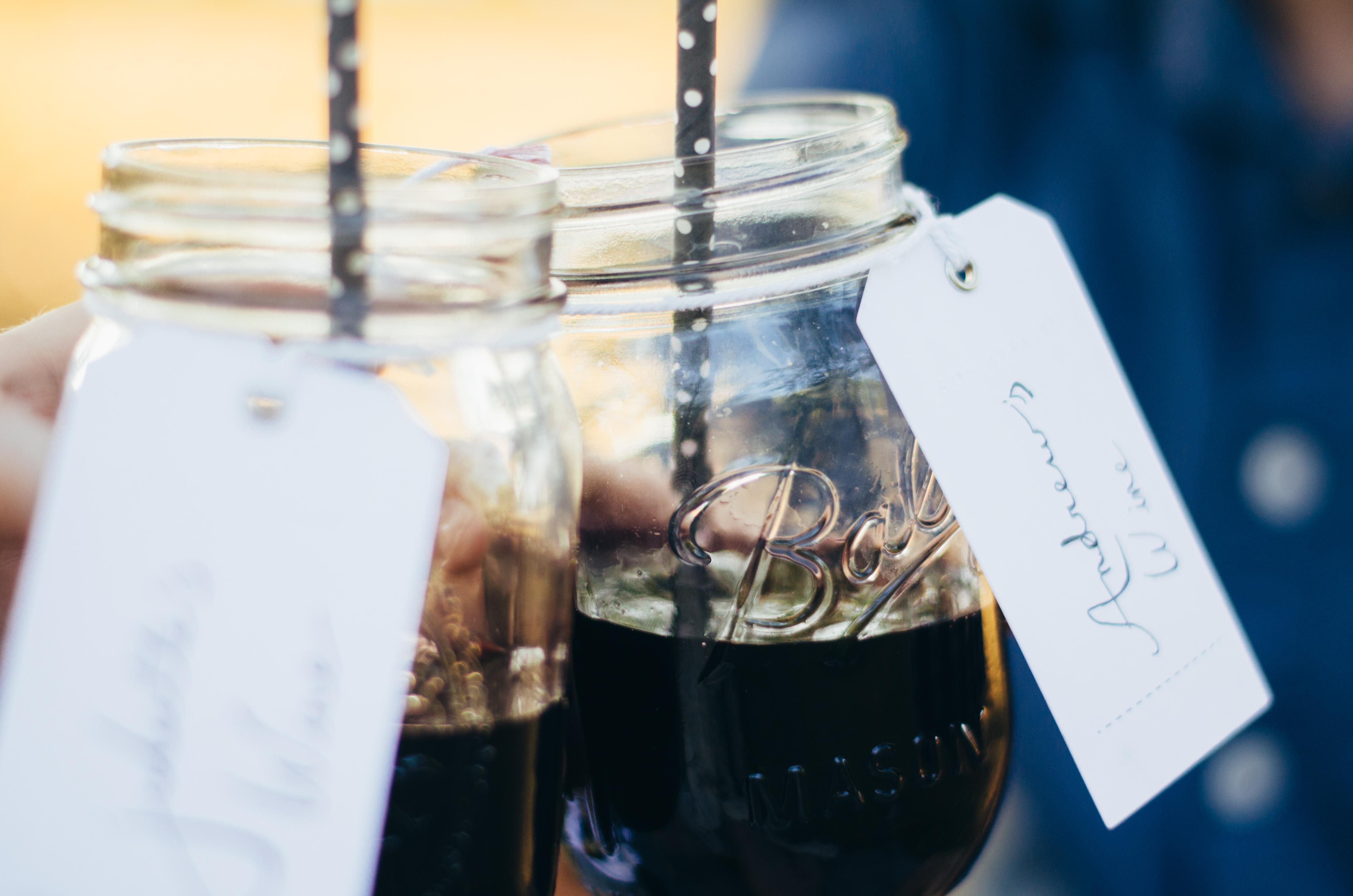 Cheers! Personalized mason jar wine glasses on juliettelaura.blogspot.com