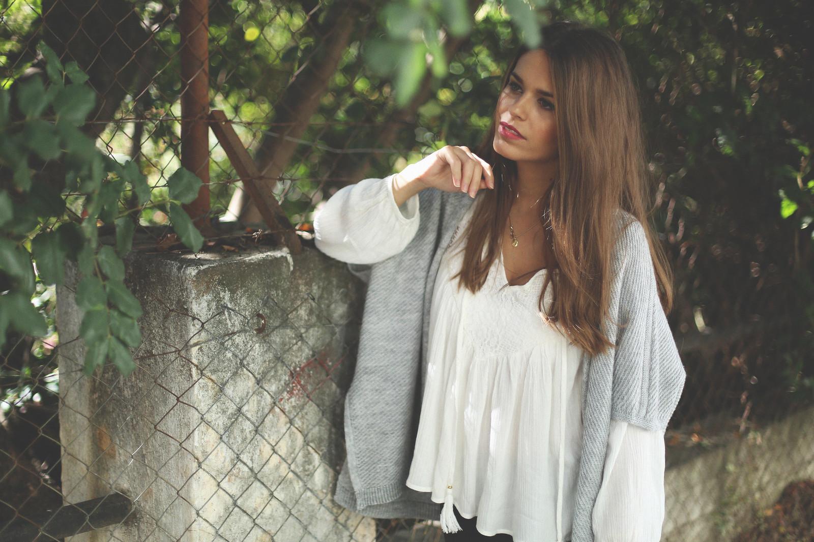 4. jessie chanes - grey poncho white boho blouse