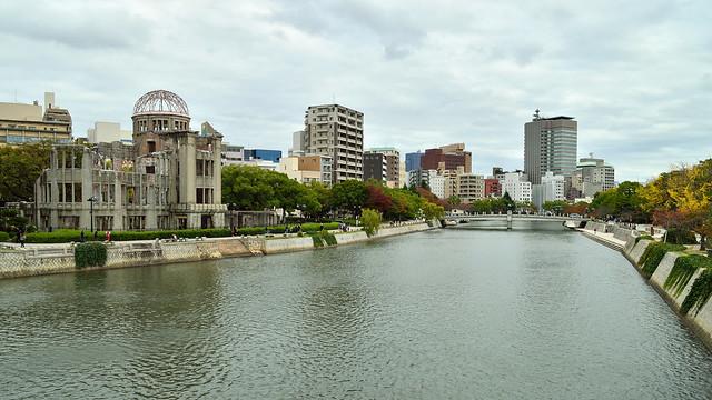 原爆ドームと元安川 Hiroshima Peace Memorial(Genbaku Dome)