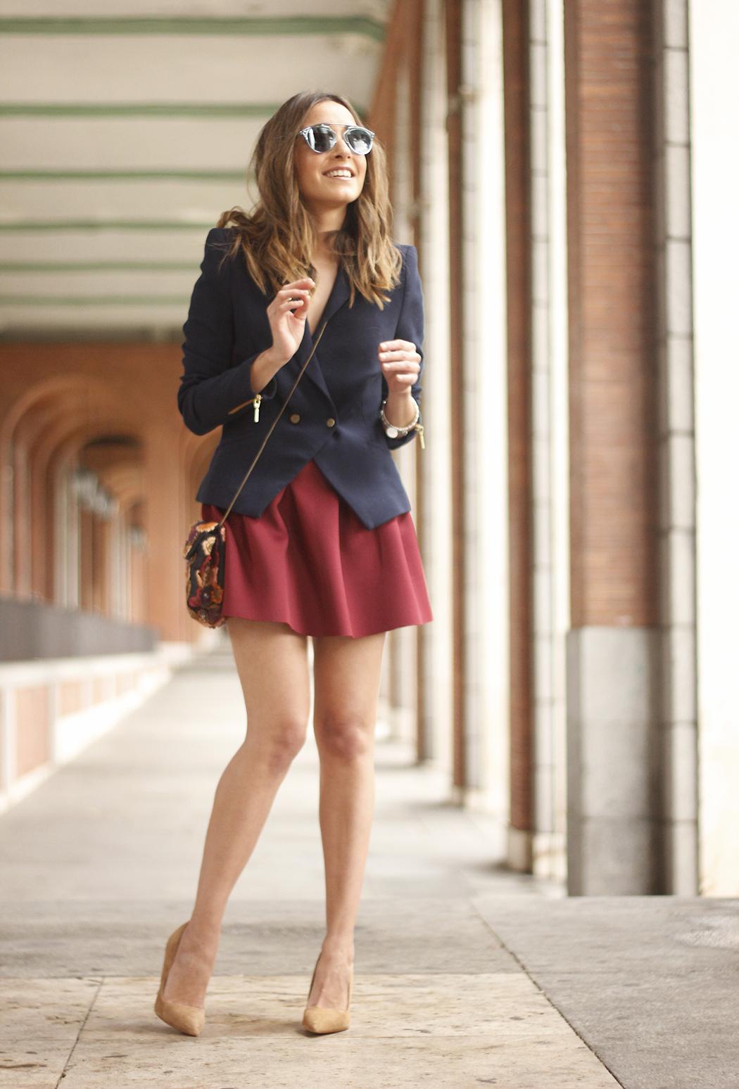 Blue Blazer Burgundy Skirt Outfit23