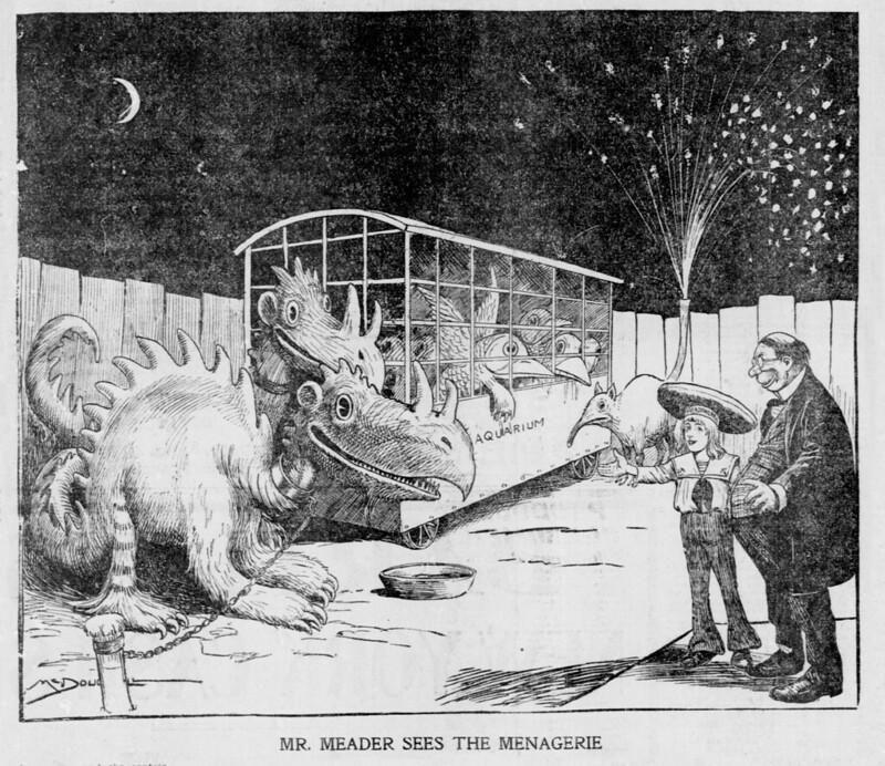 Walt McDougall - The Salt Lake herald., March 02, 1902, Mr. Meader Sees The Menagerie