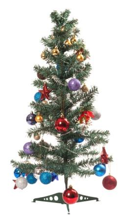 Christmas tree with ornament, bauble, and decoration