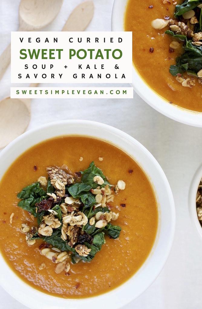 Curried Sweet Potato Soup w/ Kale & Savory Granola {gf}