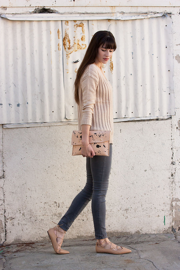 Tan Sweater, Walter and George Clutch, Nude Lace Up Heels, Grey Denim