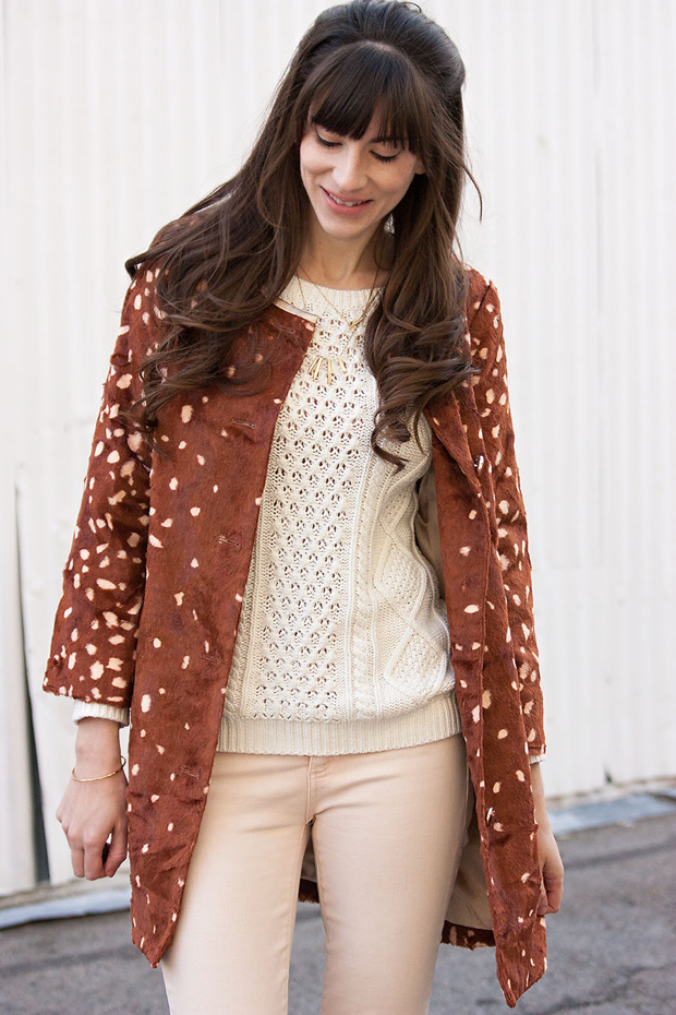 Gap Cable Knit Sweater, Gap Jeans, Bambi Print Coat