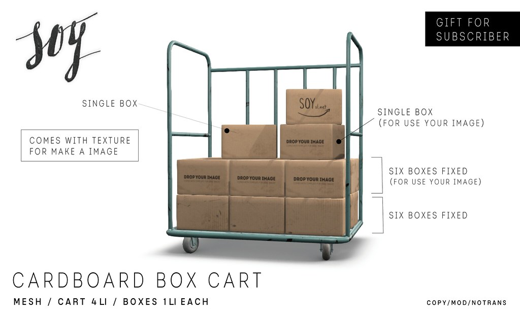 Soy. Cardboard Box Cart - Group gift - SecondLifeHub.com