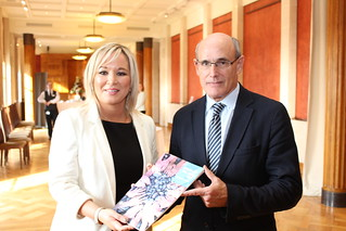 Sinn Féin Health Minister Michelle O'Neill with Professor Raphael Bengoa at the launch of the Health and Wellbeing 2026 - Delivering Together vision.
