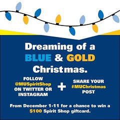WIN a $100 Spirit Shop Gift Card! FOLLOW @MUSpiritShop and SHARE a pic of your #MUChristmas spirit to enter.