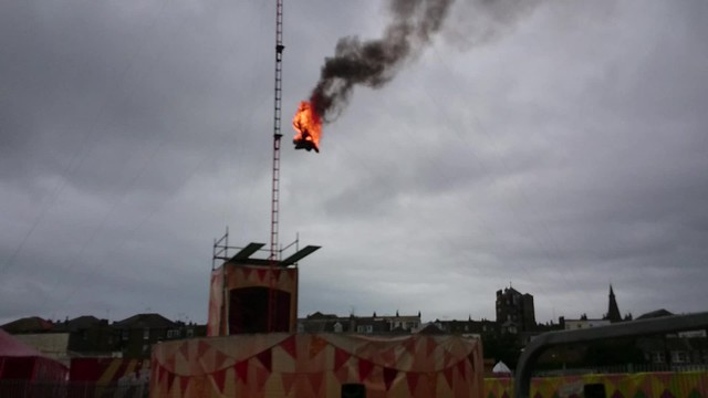 Burning diver at Dreamland Margate