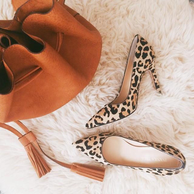 cute & little blog | tan bucket bag, tan calf hair leopard pumps