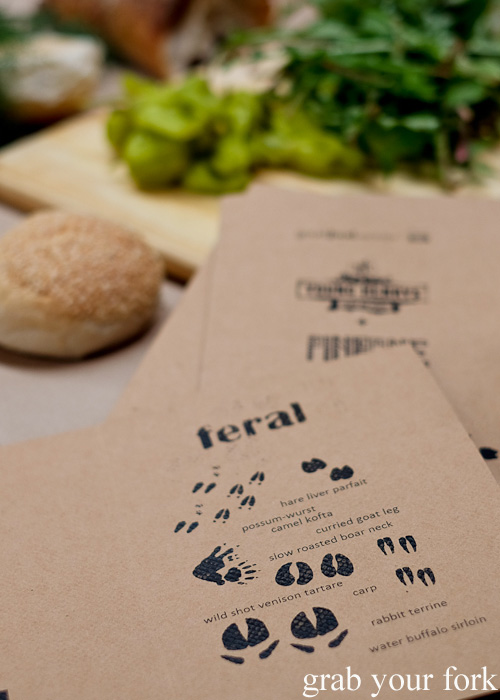 Feral Party menu by Pinbone at Young Henrys for Good Food Month 2015