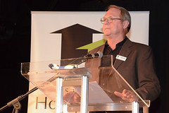 Board member Russ Froese, MC'ing Hero of the Homeless Awards, optional photo if useful
