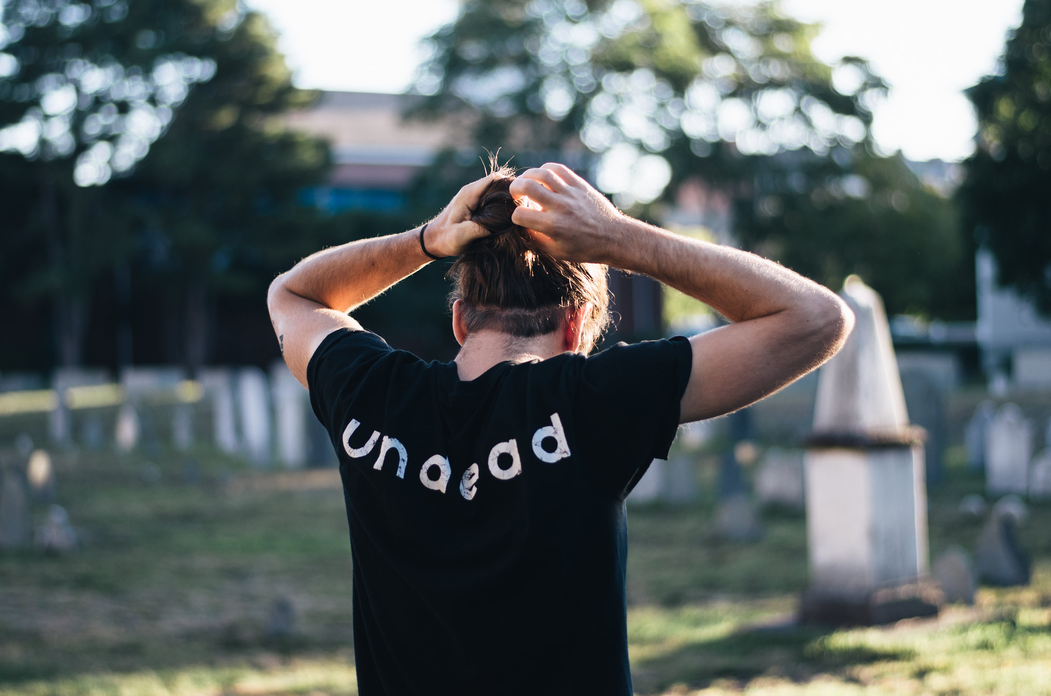 Man Bun and Undead Shirt in Graveyard on juliettelaura.blogspot.com