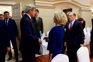 Secretary Kerry Speaks With American Chamber of Commerce in Kazakhstan Executive Director Doris Bradbury