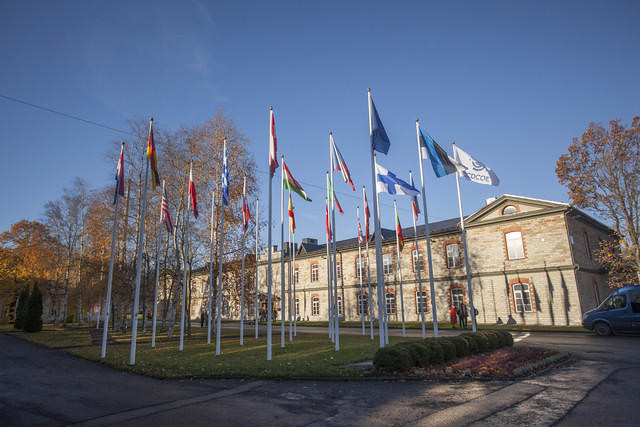 Finnish, Greek and Turkish Flag Fly at the NATO Cooperative Cyber Defence Centre of Excellence