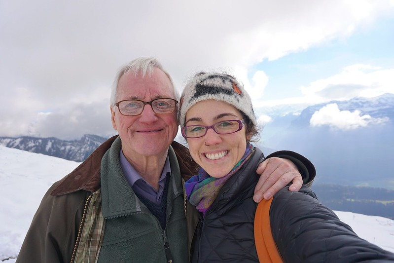 Flora and her dad in Austrian mountains