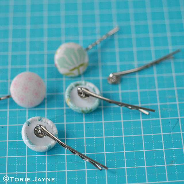 Pretty pastel fabric covered bobby pins tutorial 1