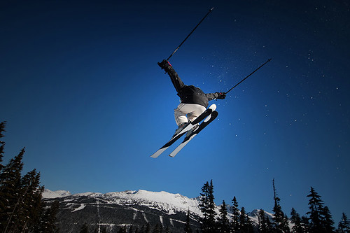 Blue Skies and Big Air at Whistler Blackcomb Ski Resort, Whistler BC, British Columbia.