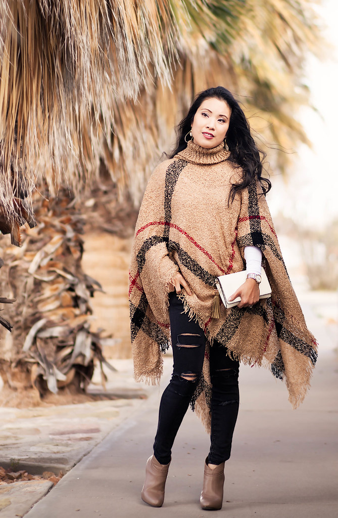 cute & little blog | petite fashion | khaki turtleneck plaid cape sweater, black distressed jeans, taupe ankle booties | fall winter outfit