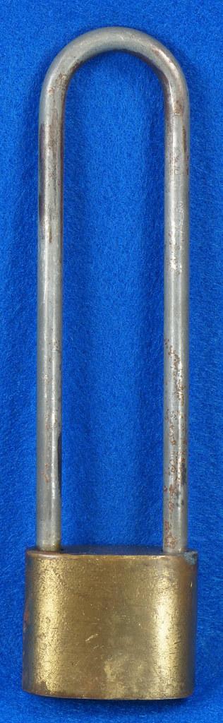 RD14743 Vintage Rollfast Bicycle Bike Lock Brass Body Long Hasp with Key Padlock DSC06257