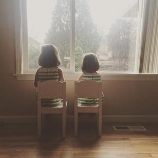 Watching a rain storm.