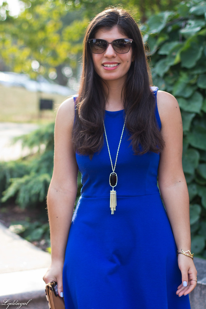 cobalt dress, leopard pumps and clutch-4.jpg