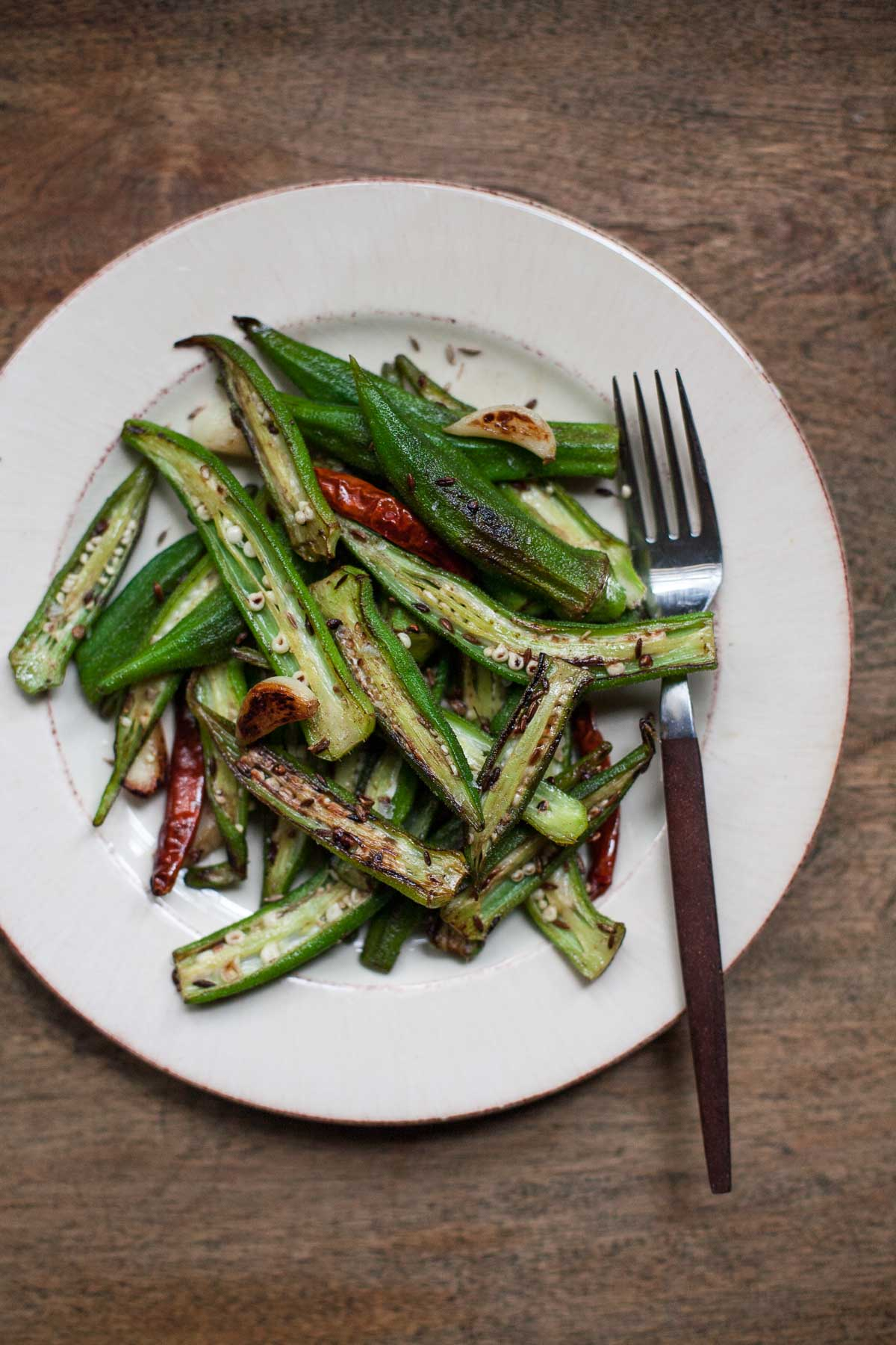Top 15 Paleo Recipes of 2015--Blistered Okra with Garic and Cumin (Whole30) | acalculatedwhisk.com