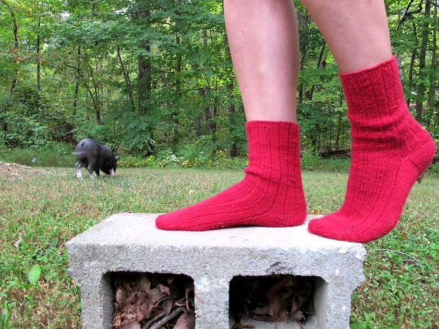 Handknit red socks