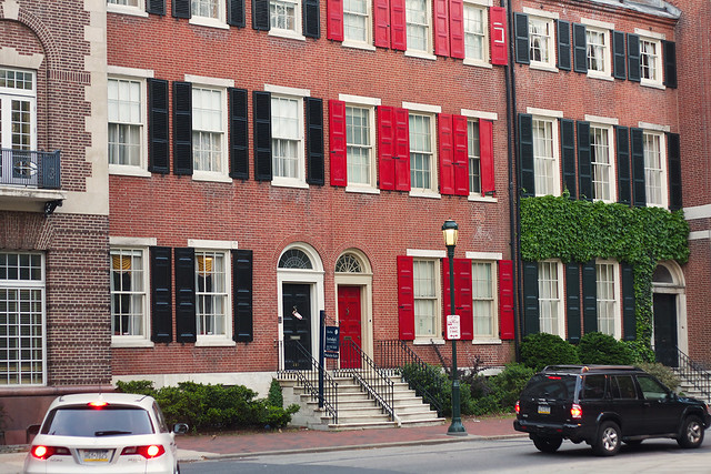 Matching red and black shutters in historic Philly