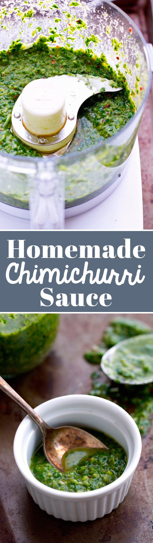 Homemade Chimichurri Sauce - perfect to top on grilled meats and tons of other dishes! #chimichurrisauce #homemadesauce #homemadechimichurrisauce | Littlespicejar.com