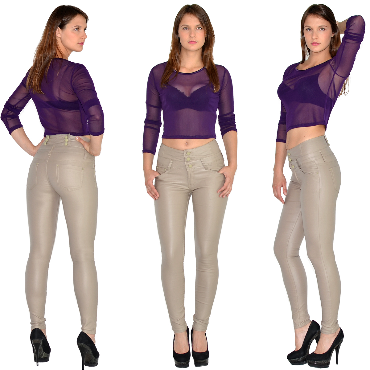 damen high waist jeans hose r hrenjeans damen jeanshose skinny in leder optik ebay. Black Bedroom Furniture Sets. Home Design Ideas