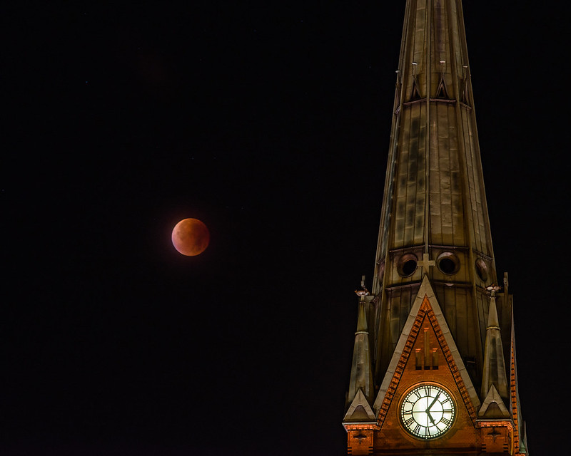 Super blood moon over Arendal, Norway