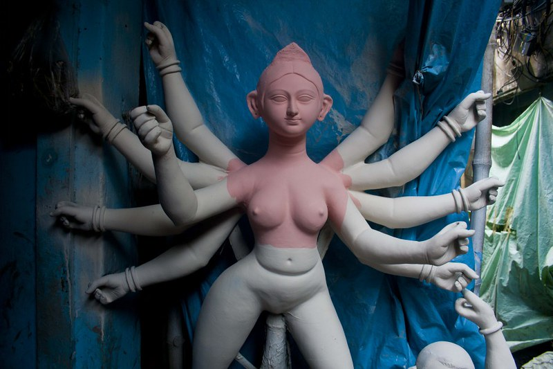 Unfinished Goddess Durga - at Kumortuli, Kolkata, India
