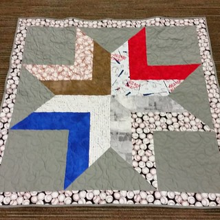 The 2nd eight point star from leftover baseball fabrics is done. Love how it turned out! #goroyals
