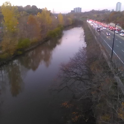North, the Don in evening #toronto #donriver #don #dvp #evening #autumn #donvalleyparkway