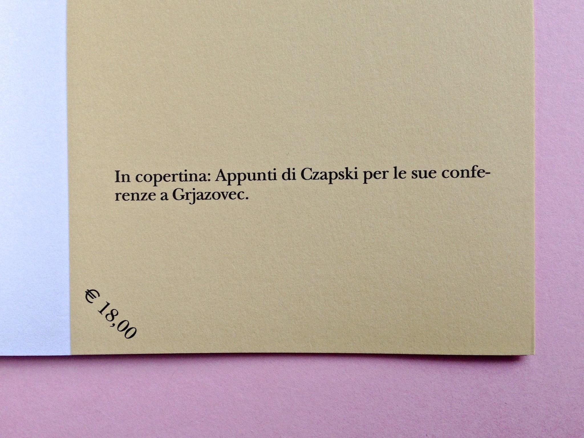 Proust a Grjazovec, di Józef Czapski. Adelphi 2015. Resp. grafica non indicata. bandella della quarta di copertina (part.), 1