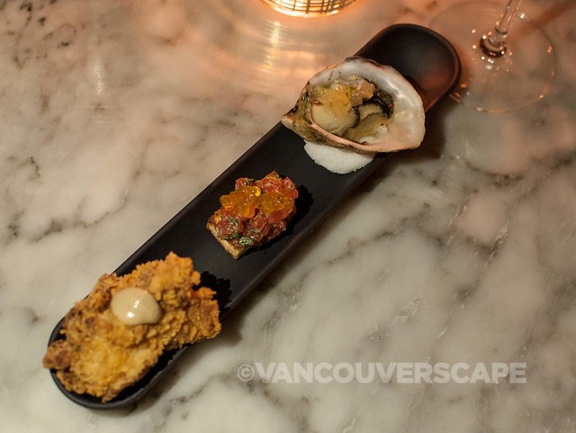 AnnaLena/Fried chicken, cured salmon, oyster trio amuse