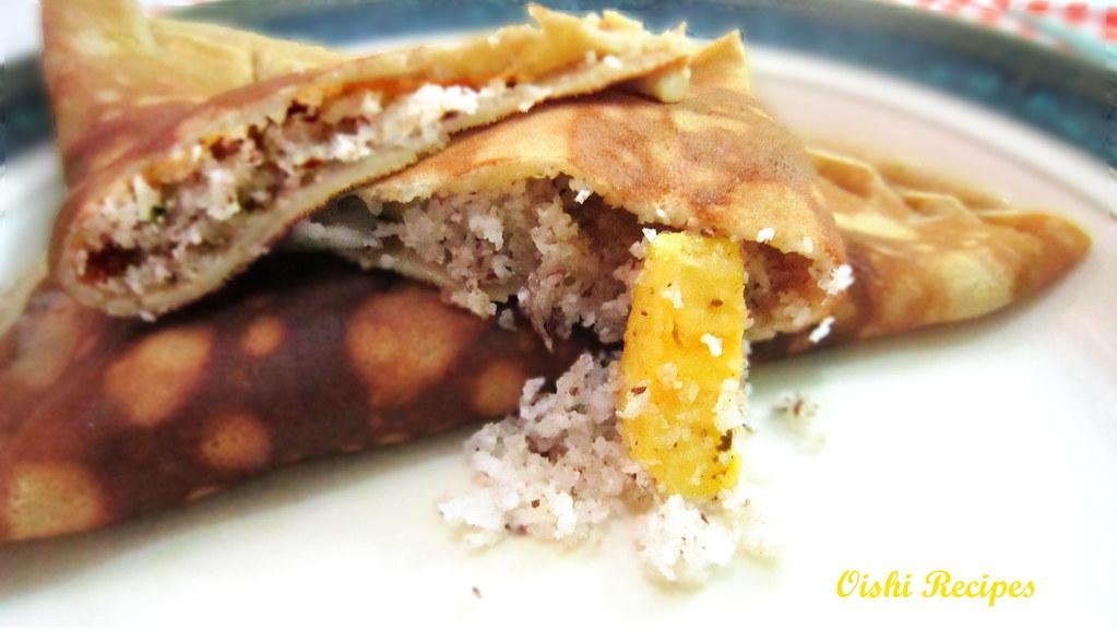 Sweet coconut banana pancake