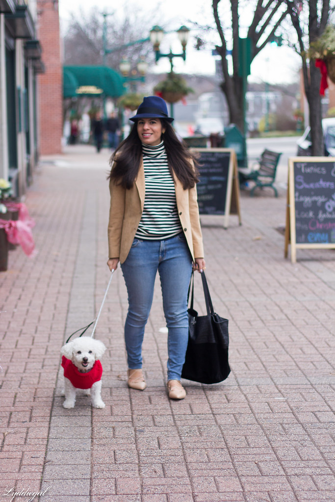 Striped shirt, camel blazer, denim, fedora-7.jpg