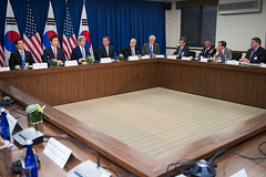 "U.S. Secretary of State John Kerry and U.S. Secretary of Defense Ashton Carter hold a ""2+2"" ministerial meeting with their Republic of Korea (ROK) counterparts, Minister of Foreign Affairs Yun Byung-se and Minister of National Defense Han Min-koo, on October 19, 2016, at the U.S. Department of State in Washington, D.C."