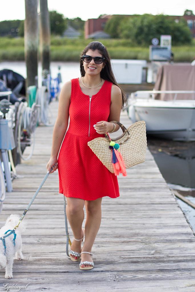 Orange sundress, straw tote, jeweled sandals.jpg