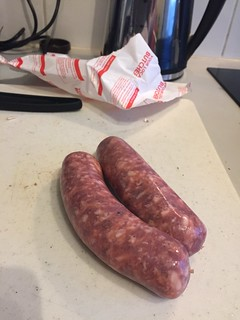 Experimentation: stout marinated French sausages.