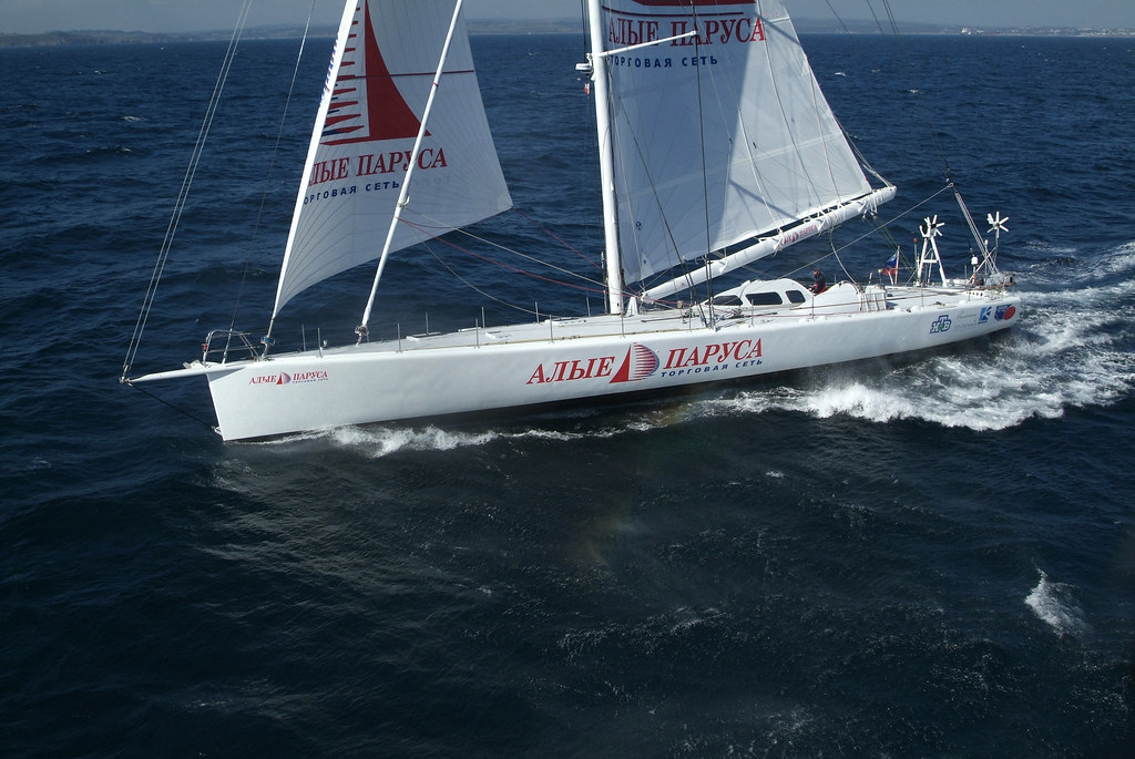 Famous Russian adventurer Fedor Konyukhov and his 28m yacht 'Trading Network Alye Parusa'